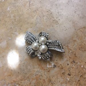 Jewelry - Diamond and Pearl Brooch